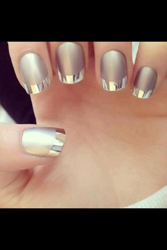 Silver Metallic French tip nails!!