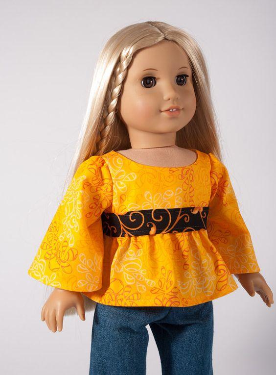 1970s style tunic American Girl doll shirt 18 inch by PattiKuz, $9.50