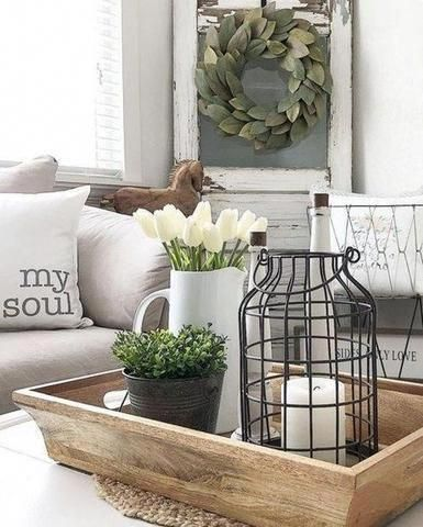 Light Wooden Tray And Farmhouse Coffee Table Decor Farmhouse Coffee Table Decor Farmhouse Decor Living Room Coffee Table Farmhouse