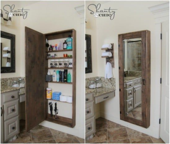 35 Space Saving Diy Hidden Storage Ideas For Every Room Bathroom Mirror Storage Rustic Storage Bathroom Storage