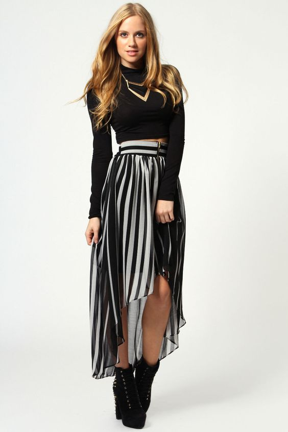 Mariah Zip Front Chiffon Striped Mixi Skirt