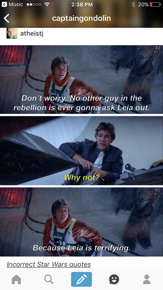 LUKE: Don't worry. No other guy in the Rebellion is going to ask Leia out. HAN: Why not? LUKE: Because Leia is terrifying.