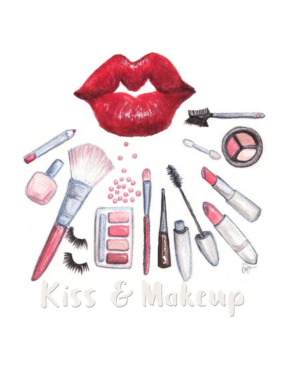 Simple Fashion Watercolor Illustration print Red Lips kiss and – Simple Listing Words