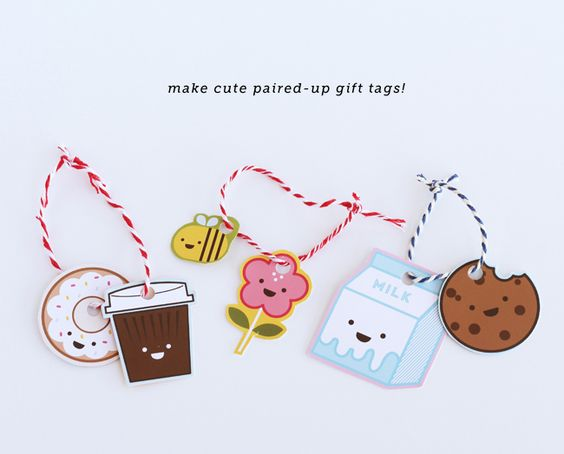 Pair-up Gift Tags : Coffee and Donut, Flower and Bee, Milk and Cookies | DESIGN IS YAY