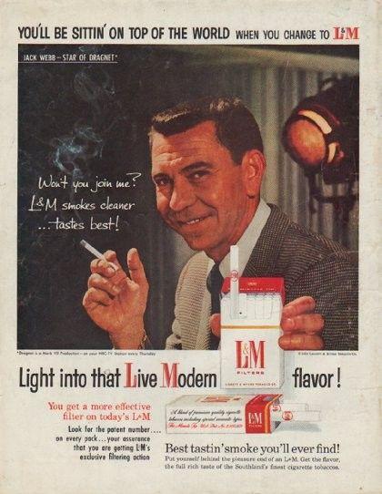 1958 lampm cigarettes ad quotjack webb star of dragnet