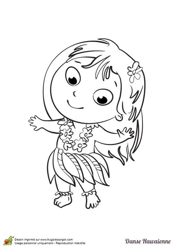 A colorier une petite hawaïenne avec une jolie fleur sur les cheveux dansant le Hula