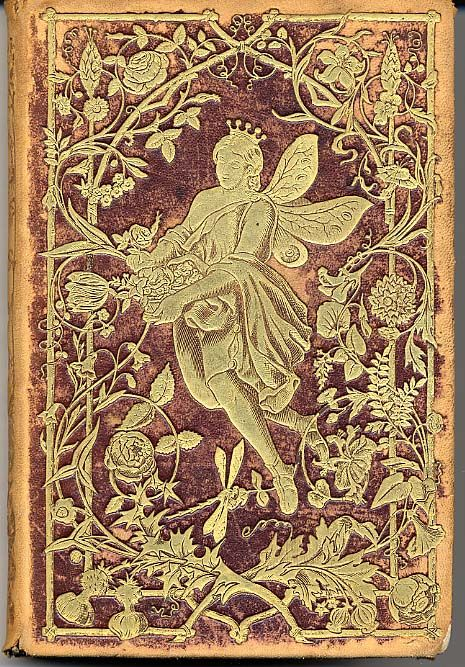 An unusual and rare book of German poetry. The book is bound in brown leather and embossed w/gold designs of flowers and the flower fairy.: