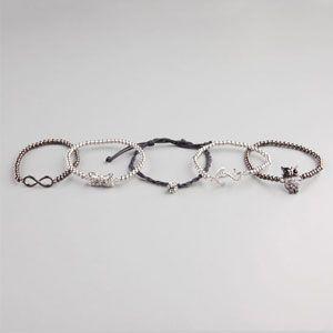FULL TILT 5 Piece Fireball/Owl/Bow/Infinity/Anchor Bracelets