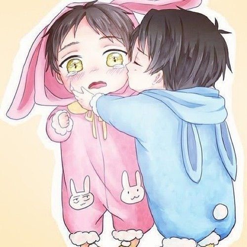 Rivaille (Levi) x Eren Jaeger notice how one bunny has Levi's face expression and The other has Eren's