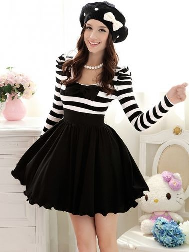 Elegant Stylish Chiffon Bowknot Long Puff Sleeve Dress  on BuyTrends.com, only price $33.34