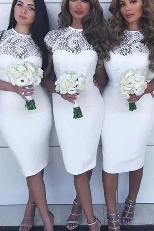 White Lace Top Cap Sleeves Knee Length Sheath Short Bridesmaid Dresses N1396 White Lace Bridesmaid Lace Bridesmaid Dresses Satin Bridesmaid Dresses