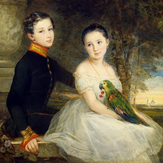 Children with a parrot by Christina Robertson   - Click to enlarge: