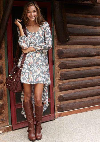 : High Low Dresses, Dream Closet, Dress Boots, Hi Low Dress With Boots, Floral Dresses, Hi Low Dresses, Fall Dresses
