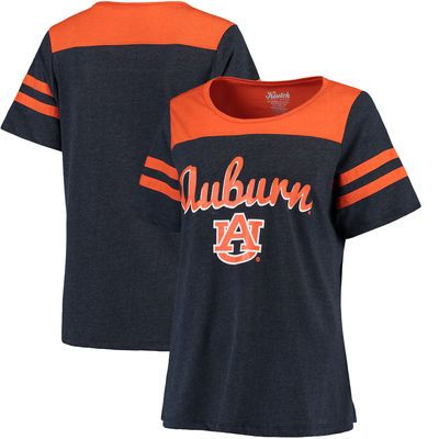 Auburn Tigers Women's Plus Size Sleeve Stripe Football T-Shirt - Navy