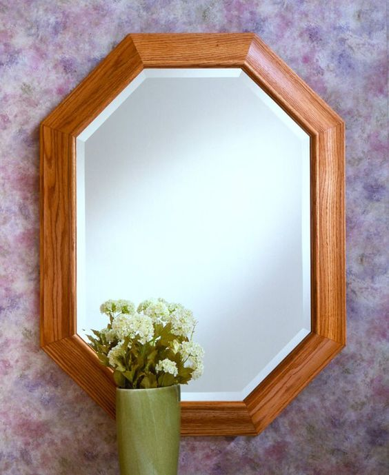 406 octagon is framed in solid oak with 1 beveled edge for Octagon beveled mirror