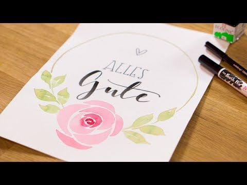 Diy Watercolour Handlettering Ohne Pinsel Ohne Wasserfarbe