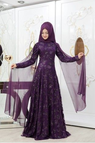 Cicekli Huma Abiye Mor Abaya Fashion Fashion Pakistani Fashion