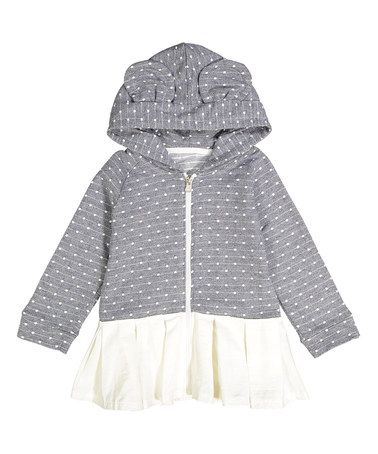 Look at this #zulilyfind! Blue Polka Dot Ruffle Hoodie - Toddler & Girls #zulilyfinds
