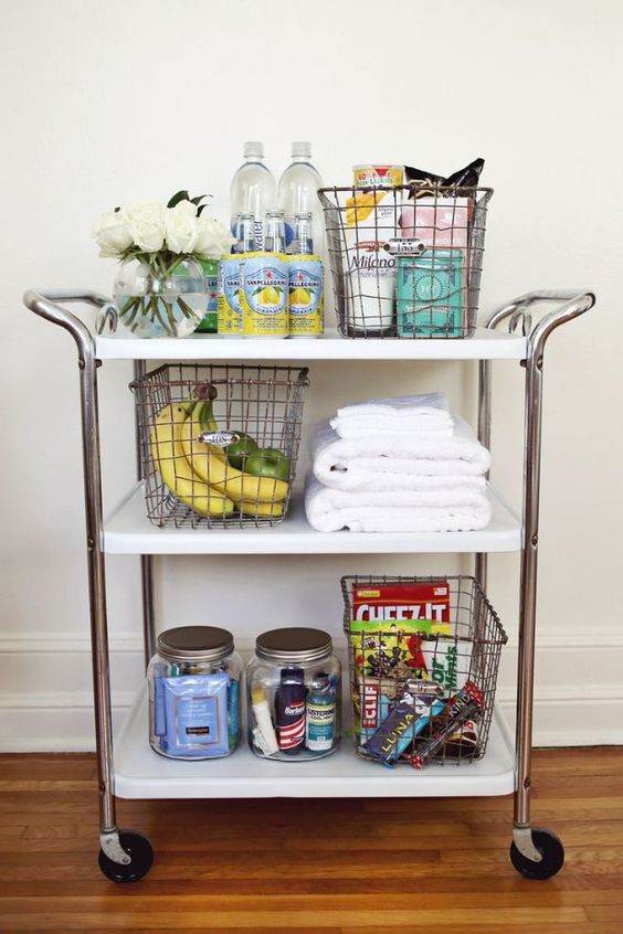 bar cart with vacation essentials