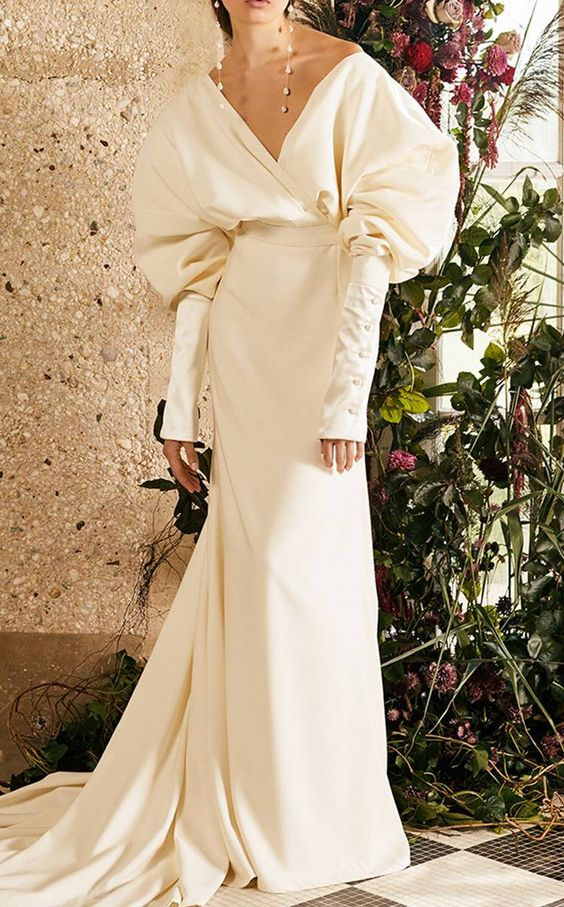 off white puffy long sleeve wedding dress - wedding ideas - wedding planning services - weddings by K'Mich in Philadelphia PA - danielle frankel