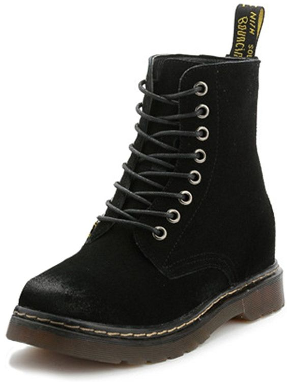 Summerwhisper Women's Trendy Round Toe Heighten Inside Wide Booties Lace-up Leather Motorcycle Short Boots -- Check this awesome image  : Western boots