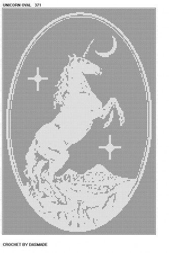 Crochet Oval Afghan Pattern : UNICORN OVAL FILET CROCHET AFGHAN MAT PATTERN DOILY 371 ...