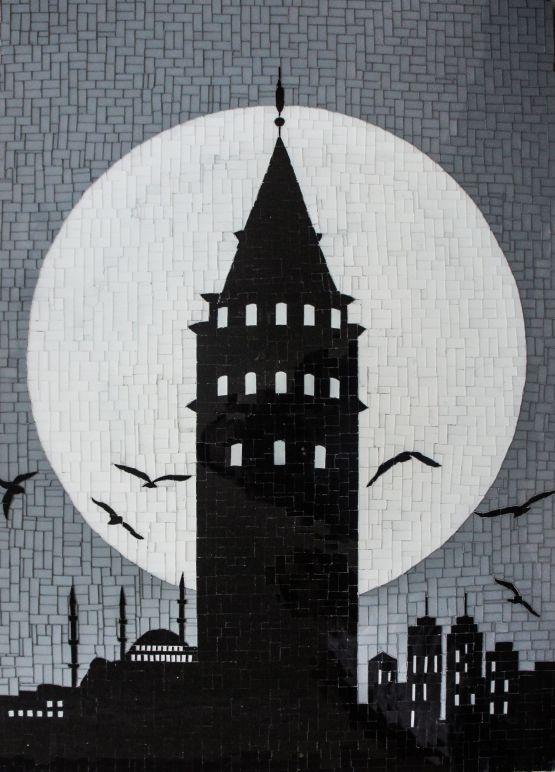 Galata Kulesi By Altinok Resim Cam Mozaik Ebat 60 Cm X 84 Cm Altinok Eserlerini Gallerymak Com Ile Kesfedin Sehir Silueti Cizim Mozaik