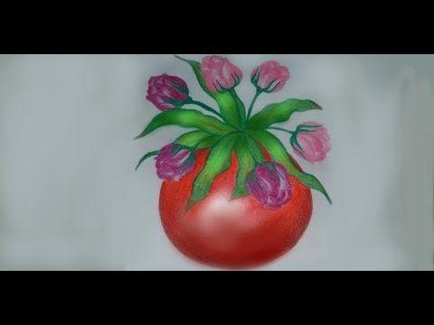 ١ رسم مزهرية ورد بالألوان الخشبية Youtube Vegetables Tomato