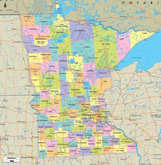 map of minnesota cities world map