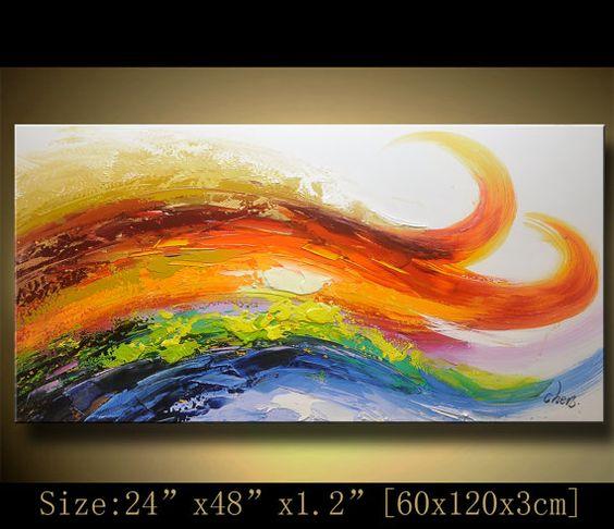 Original pintura abstracta, pintura moderna textura, empastes paisaje texturado espátula pintura moderna, pintura sobre lienzo byChen Tamaño: x1.2 24 x 48  [60x120x3cm] Estirar espesor: 1,2(3cm) Enmarcado / estirar (aliste para colgar) Las partes están libres de grapas y son pintados de negro. Está listo para colgar.  Detalles de pago: preferimos paypal Recuerde dejar su número de teléfono en el campo de notas  Envío y embalaje a cargo: Por Air Mail o EMS a todo el mundo Paquetes serán…