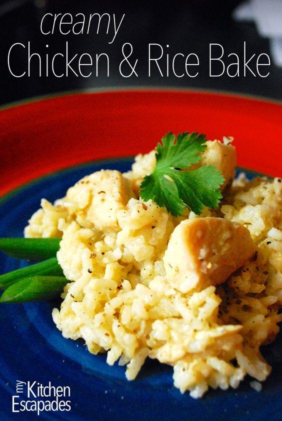 Creamy chicken, Chicken rice bake and Rice on Pinterest