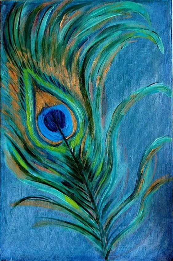 Peacock feather original oil painting on canvas for Easy peacock paintings