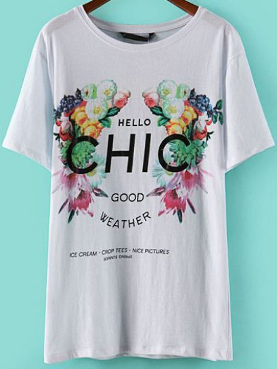 White Short Sleeve Floral HIC Print T-Shirt pictures