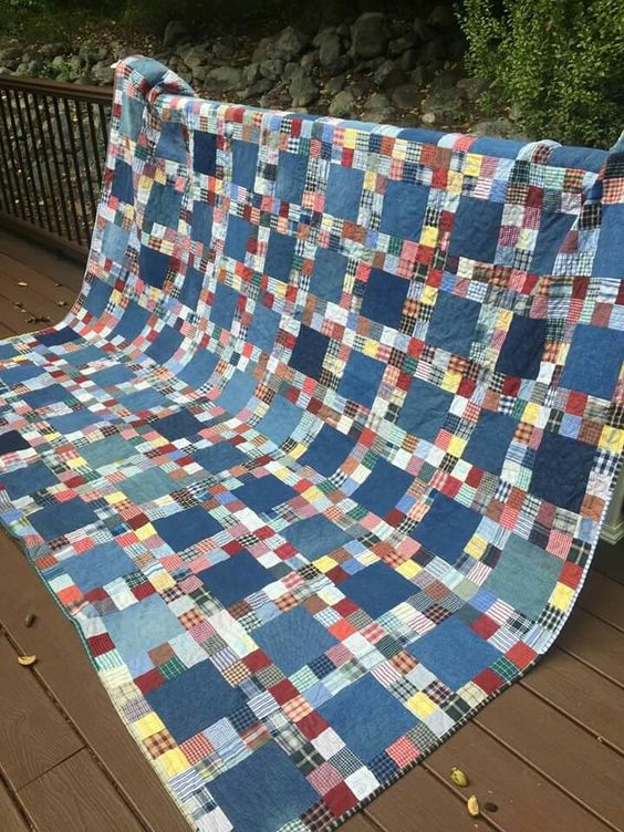 Memory quilt from jeans & shirts: