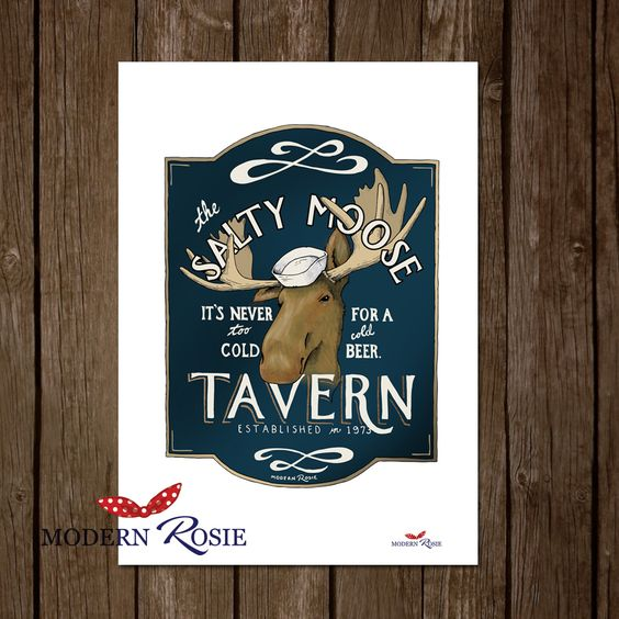 The Salty Moose pub sign illustration from Modern Rosie. A dedication to beer loving shipbuilders of the Northeast.
