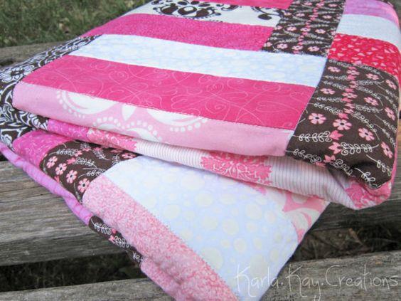Modern Baby Girl Quilt Pink Brown White Polka Dot Damask Little Girl Crib Blanket - Sweet Shop. $100.00, via Etsy.