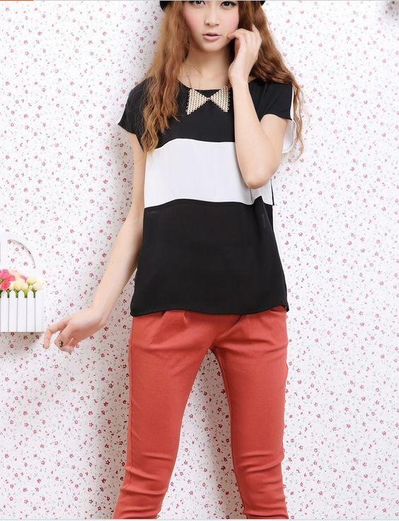 Contrast blouse - 11332  USD $9.40