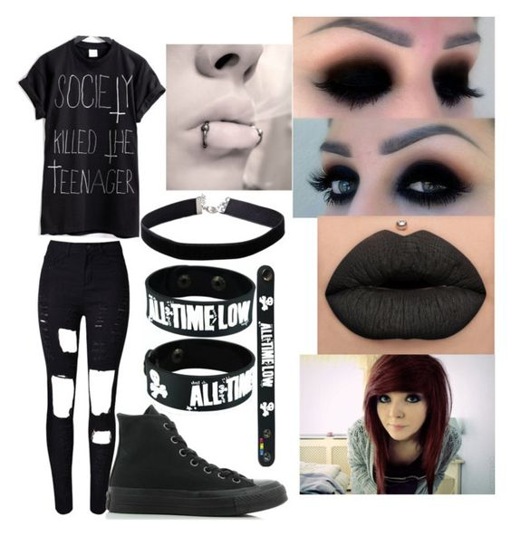"""""""The Dark Part Of Me"""" by abbysmall ❤ liked on Polyvore featuring WithChic, Converse and Miss Selfridge"""