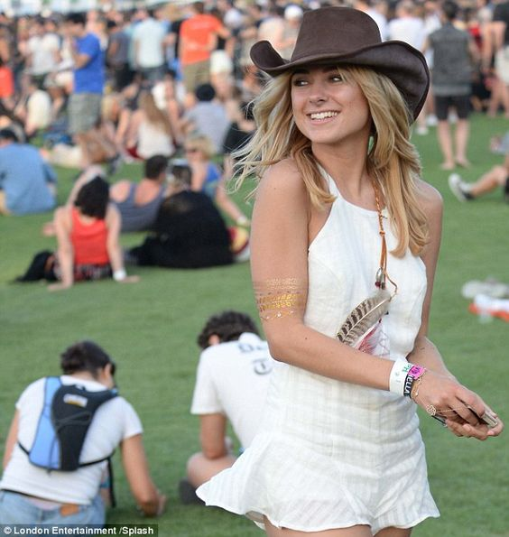 It's getting hot out here: Kimberley was one of many celebs to head to the California fest...