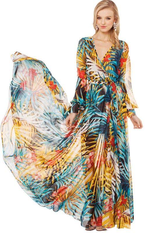 Multicolor Floral Long Sleeve Wrap Maxi Dress - mood - Pinterest ...