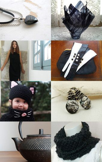 Basic Black for January Gifts by Donna Kuck on Etsy--classic black collection, inc'l my black cowl!