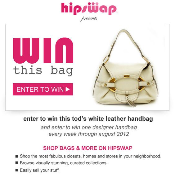 WIN this 100% authentic Tod's handbag! #winthisbag http://hipswap.com/winthisbag/pinterest