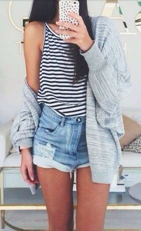 #street #style stripes + denim short shorts @wachabuy:
