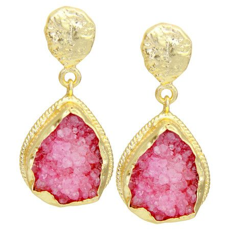 Brass+teardrop+earrings+with+18-karat+gold+plating+and+pink+druzy+quartz+stones.+  Product:+Pair+of+earringsConstruction+M...