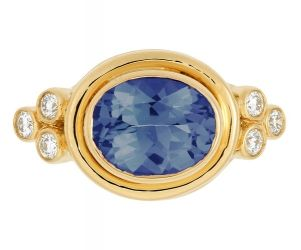 18K Classic Faceted Ring in Blue Sapphire with Diamond Granulation - Temple St. Clair