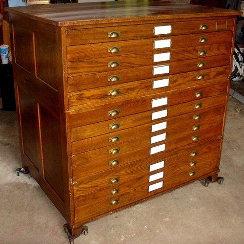antique 13 drawer tigar oak map cabinet 2 section