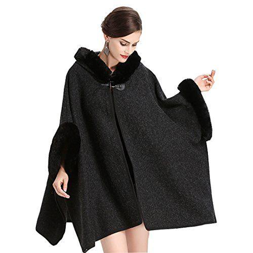 Cool&D Damen Poncho Cape Winter Umhang Tweed Jacke mit