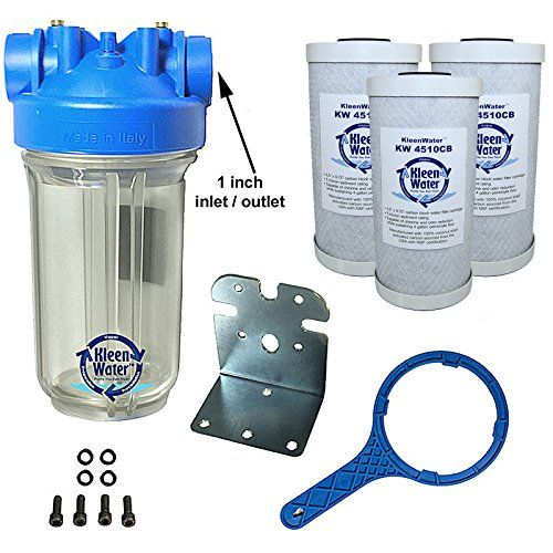 Kleenwater Premier Chlorine Whole House Water Filter System 1 Inch Inlet Outlet Transparent H Home Water Filtration House Water Filter Water Filters System
