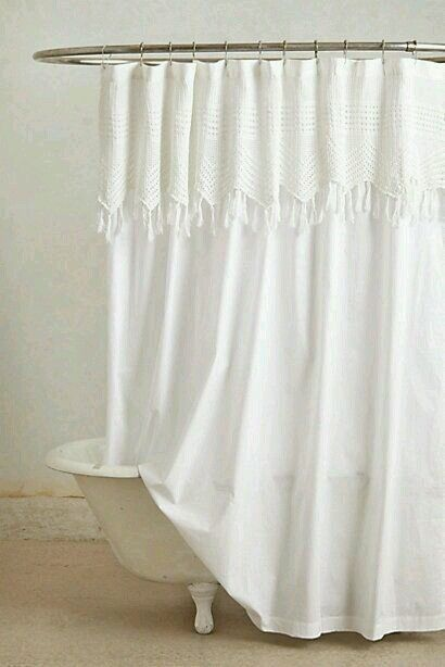 Anthropologie Portiere shower curtain white cotton crochet vintage ...