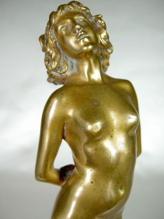 joe descomps statue femme nue deco bronze dore sculpture 1920 susse ed b r o n z e s